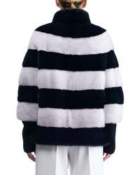 Gorski - Blue Chevron Mink Fur Jacket With Cashmere Sleeves - Lyst