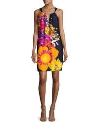 Trina Turk   Yellow Roe Halter-neck Floral-print Shift Dress   Lyst
