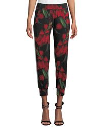 Norma Kamali - Black Floral-print Side-stripe Ankle Jogger Pants - Lyst