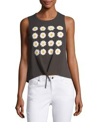 Chaser | Black Daisies Tie-front Muscle Tank | Lyst