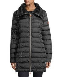 Save The Duck - Black Iris Iridescent Quilted Puffer Coat - Lyst
