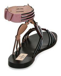 Valentino - Black Love Blade Caged Flat Sandal - Lyst
