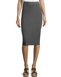 Eileen Fisher - Gray Washable Wool Ribbed Pencil Skirt - Lyst
