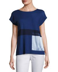 Lafayette 148 New York - Blue Short-sleeve Bateau-neck Sweater W/ Silk Panel - Lyst