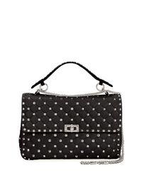Valentino - Gray Rockstud Large Quilted Shoulder Bag - Lyst