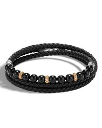 John Hardy - Black Men's Classic Chain Woven Leather & Bead Triple-wrap Bracelet for Men - Lyst
