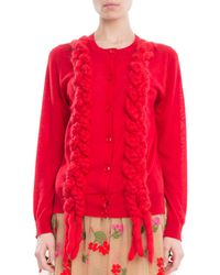 Simone Rocha | Red Braided Plait Crewneck Cardigan | Lyst