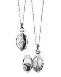 Monica Rich Kosann - Metallic White Sapphire Quatrefoil Locket Necklace - Lyst