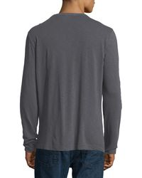 Theory | Gray Nebulous Long-sleeve Henley T-shirt for Men | Lyst