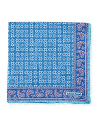 Edward Armah - Blue Neat Medallion Pocket Square for Men - Lyst