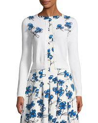 Oscar de la Renta - White Floral-applique Wool Cardigan - Lyst