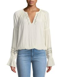 Ramy Brook - White Antonia Embellished Peasant Top - Lyst