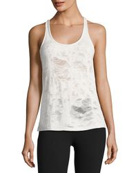 Alo Yoga - White Pure Distressed Racerback Athletic Tank - Lyst