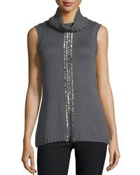 Ramy Brook | Gray Leah Beaded Sleeveless Cowl-neck Sweater | Lyst