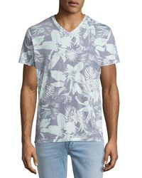 Sol Angeles - Blue Mystique Tropical-print V-neck T-shirt for Men - Lyst