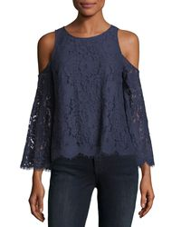 Joie - Blue Abay Lace Cold-shoulder Top - Lyst