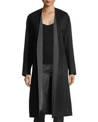 Vince - Black Reversible Belted Wool-cashmere Coat - Lyst