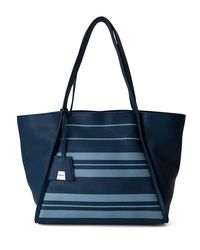 Akris - Blue Alex Medium Striped Leather Tote Bag - Lyst