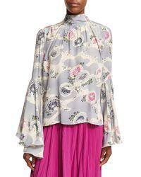 Co. - Multicolor Mum-print Silk Crepe Bell-sleeve Top - Lyst