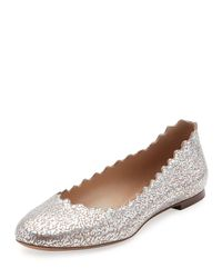 Chloé - Multicolor Lauren Scalloped Metallic Leather Ballerina Flat - Lyst