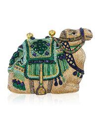 Judith Leiber Couture - Metallic Sodalite & Green Onyx Crystal Camel Clutch Bag - Lyst