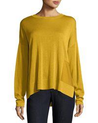 Eileen Fisher Yellow Sleek Tencel®/wool Box Top W/ Patch Pocket