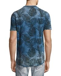 True Religion - Blue Buddha Tropical Palm-print T-shirt for Men - Lyst