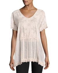 Johnny Was - Pink Stargaze Flare Top W/ Lace Trim - Lyst