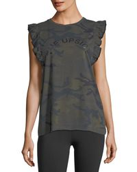 The Upside - Green Camo Frill Cotton Muscle Tank Top - Lyst
