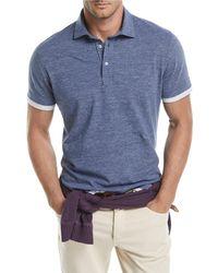 Brunello Cucinelli Blue Contrast-trim Polo Shirt for men