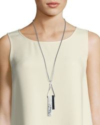 Lafayette 148 New York - Natural Long Double-rectangle Necklace - Lyst