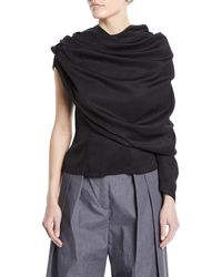 Awake - Black One-sleeve Draped Button-back Blouse - Lyst