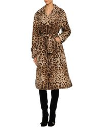 Dolce & Gabbana - Natural Leopard-print Long Trench Coat - Lyst