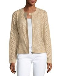 Neiman Marcus | Natural Striped Leather Jacket | Lyst