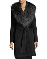 Fleurette Black Wrap Coat With Fox Collar