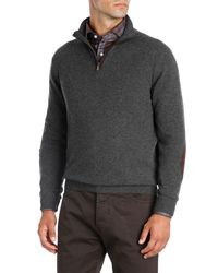 Isaia - Gray Half-zip Cashmere Sweater With Suede Trim for Men - Lyst