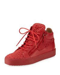 Giuseppe Zanotti - Red Men's Pyramid Leather Mid-top Sneakers for Men - Lyst