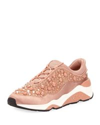 Ash - Pink Muse Beaded Crystal Sneaker - Lyst