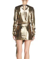 Saint Laurent | Metallic Long-sleeve Lamé Mini Dress | Lyst