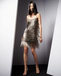 Rachel Zoe - Metallic Sleeveless Fringe Cocktail Dress - Lyst