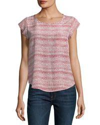 Joie | Pink Rancher Round-neck Cap-sleeve Silk Top | Lyst