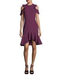 Cinq À Sept - Purple Micah Jewel-neck Sheath Crepe Cocktail Dress W/ Ruffled Hem - Lyst