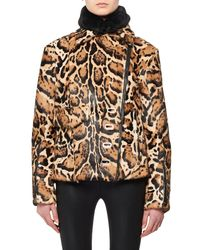 Tom Ford - Natural High-collar Two-pocket Ocelot-print Fur Puffer Coat - Lyst