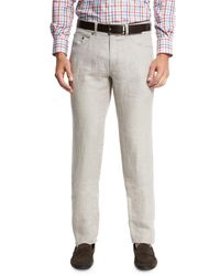 Peter Millar - Gray Linen Five-pocket Pants for Men - Lyst