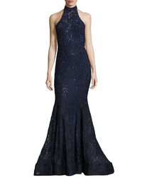 La Femme - Blue Sleeveless Beaded Lace Mermaid Gown - Lyst