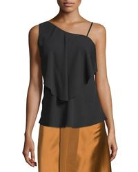 Elizabeth and James - Black Ruby Draped Popover Top - Lyst