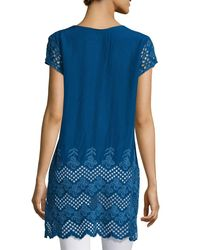 Johnny Was - Blue April Eyelet-sleeve Long Tunic - Lyst