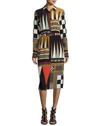 Etro - Black Backgammon-print Long-sleeve Shirtdress - Lyst