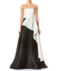 Carolina Herrera - Black Strapless Two-tone Faille Ball Gown - Lyst