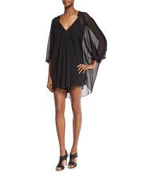 Diane von Furstenberg - Black Fleurette Silk Mini Dress - Lyst